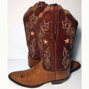 Lucchese Brown Leather Lizard Cowgirl Boot Size 10